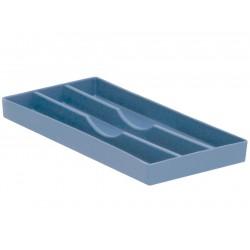Plateau avec 3 compartiments longs (9,5 x 20 cm) Bleu