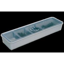 Long Godet compartimenté, avec couvercle transparent (21,3 x 5,7 x 2,